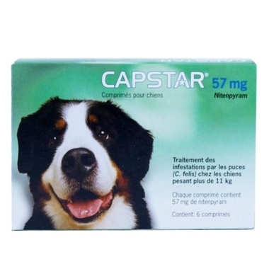 capstar 57 mg anti puce fulgurant chien de plus 11 kg boite de 6 comprim s. Black Bedroom Furniture Sets. Home Design Ideas